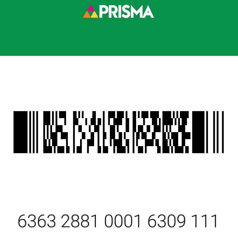 Фото штрих кода карты магазина prisma.