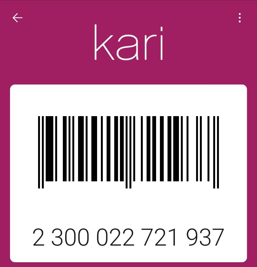 Штрих код карты Кари